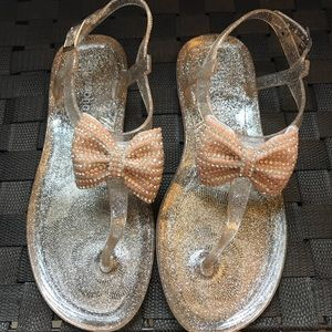 Shoes - Beach Sandals with Rhinestone Bow